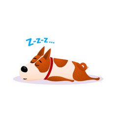 Cartoon sleeping dog portrait cute resting puppy vector