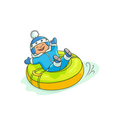 flat boy kid in inflatable tube sled vector image vector image