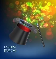 Magician Top Hat and stick with magic particles vector image vector image
