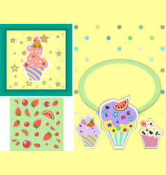 Set of templates for birthday party card vector