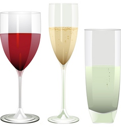 wine champagne and water glasses on a white backgr vector image vector image