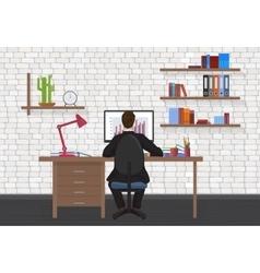 Back view of business man working on desktop vector