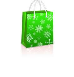 Christmas Creen Shopping Bag vector image vector image
