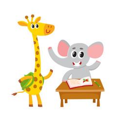 cute animal students - elephant at school desk vector image vector image