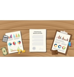 financial regulation with paper work vector image vector image