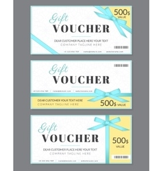 Gift voucher template with blue silk ribbon and a vector image vector image