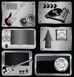 Music Metallic banner vector image