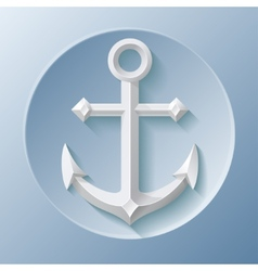 Nice anchor icon with shadow on blue vector image