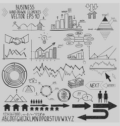 set of hand drawn business finance elements vector image vector image