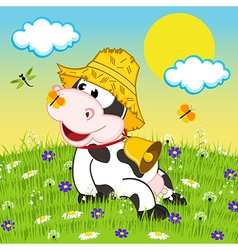 Cow resting on meadow vector image
