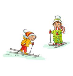 flat cartoon boys skiing isolated vector image