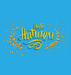 hello fall lettering vector image