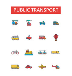 public transport thin line icons vector image vector image