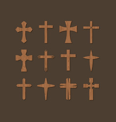 set of christian crosses vector image vector image
