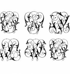 six calligraphy curves vector image vector image