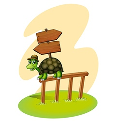 A turtle above the fence with an empty arrowboards vector image vector image