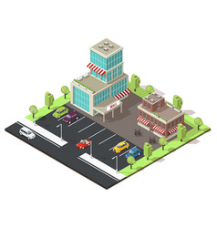 isometric shopping center template vector image vector image