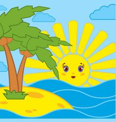 Palm trees and sunrise of the cartoon sun on the vector