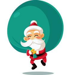 santa claus with a big bag of presents cart vector image