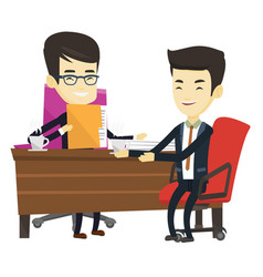 two businessmen during business meeting vector image vector image