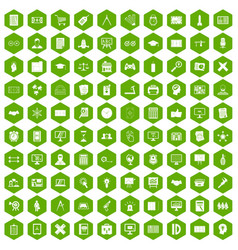 100 plan icons hexagon green vector image