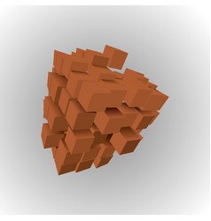 3d of basic geometric shapes an array of brown vector image