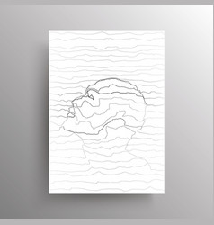abstract male face in wavy horizontal lines style vector image