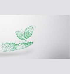 abstract plant on hand form lines and triangles vector image
