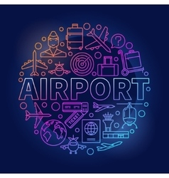 Airport colorful round vector image