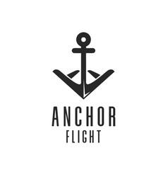 Anchor flight logo design vector