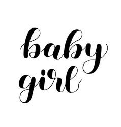Baby girl brush lettering isolated on white vector