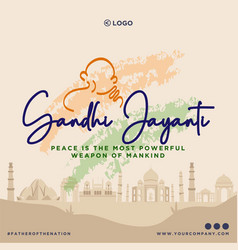 Banner design of gandhi jayanti vector