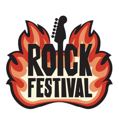 banner for rock festival with guitar on fire vector image