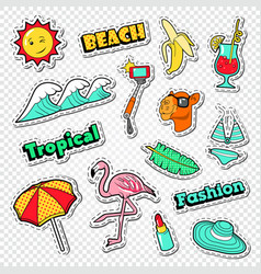 Beach vacation stickers tropical holidays doodle vector