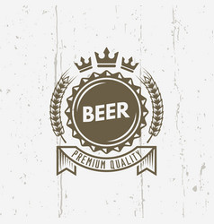 beer cap isolated vintage label with ribbon vector image
