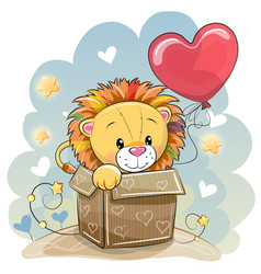 Birthday card with a cute lion vector