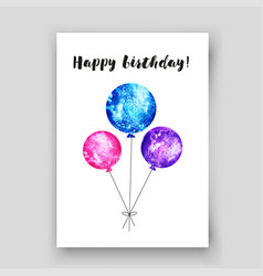 Birthday card with watercolor balloon vector