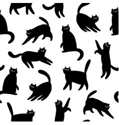 black cats silhouettes seamless pattern vector image