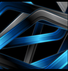 blue black glossy stripes abstract technology vector image