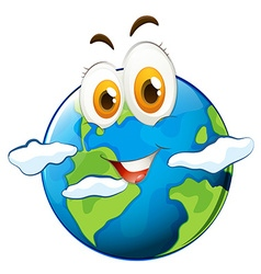 Blue planet with happy face vector image
