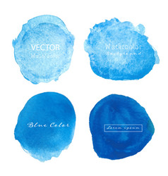 Blue watercolour circle set on white background vector