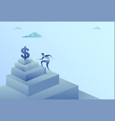 business man climbing stairs to dollar sign vector image