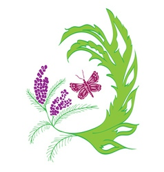 Butterfly with floral2 vector