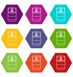 candle glass icons set 9 vector image