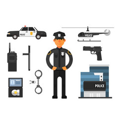 Cartoon set of police attributes officer gun vector