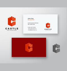 castle abstract logo and business card vector image