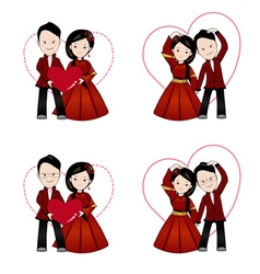 Chinese wedding cartoon in traditional dress vector