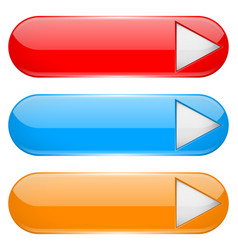 colored menu buttons with white arrow oval glass vector image