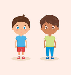Couple of little boys characters vector