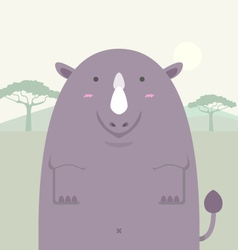 Cute fat big rhino vector